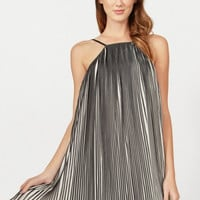 Spin Cycle Sleeveless Pleated Shift Dress - Black/White