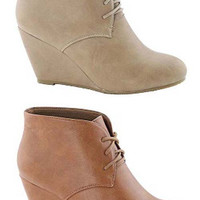Sally Lace-Up Faux Leather Wedge Bootie
