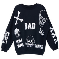 ROMWE | ROMWE Various Skeleton Print Black Sweatshirt, The Latest Street Fashion