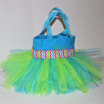 Chevron Mulit Colored Tutu Bag with Monogram Name Embroidered on it, Chevron Ribbon, Girl's Tote, Dance Clothes Bag