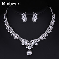Minlover 2015 New Teardrop Czech Rhinestone Crystal Choker Necklace + Earrings Bridal Jewelry Sets African Jewelry Set TL201