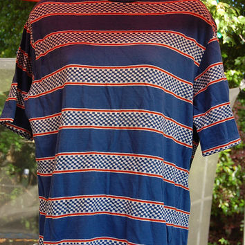 Vintage 60s 70s 80s Jantzen Blue Checkerboard Stripe Pattern T Shirt Tee Shirt Mens Large