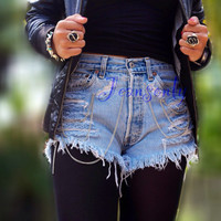 Levis high waisted denim shorts Grunge Hipster clothing distressed ripped shorts with chain by Jeansonly