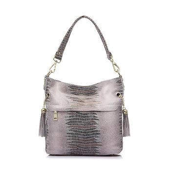 Genuine Leather Crocodile Print Shoulder Bag with Tassel