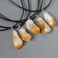 Natural Citrine Raw Yellow Quartz Crystal Stone Pendant Necklace