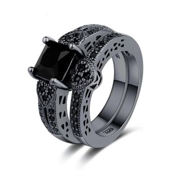 2pcs Black Gold Filled Rings Sets Princess Heart Black Cubic Zircon Ring