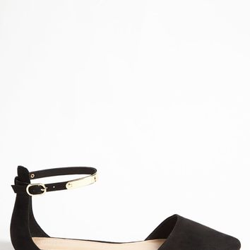 Faux Suede Ankle Strap Flats