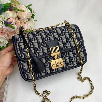 Kuyou Gb99822 Twist Chain Blue Messenger Bag In Dior Oblique With Gold Clasp