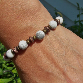 Patience - White Howlite Meditation Beaded Stretch Bracelet - Bohemian Hippie
