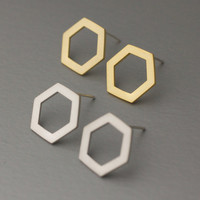 Geometric Hexagon Silver studs earrings  - Available color as listed ( Silver, Gold )