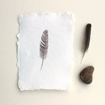 Original Watercolor Painting 'Small Sparrow Feather' - Feather Painting, Bird, Woodland, Nature Study, Rustic, Natural, Brown, Beige