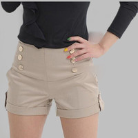 Hot Selling 2016 Fashion Women Casual Shorts Pocket Design Patchwork Plus Size Shorts High Waist Loose Fashionable Shorts