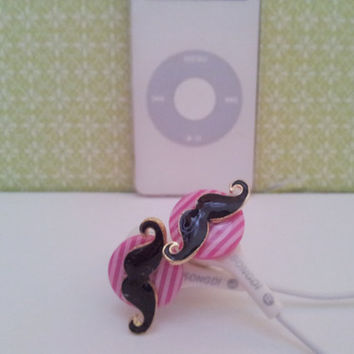Bright Pink striped mustache earbuds