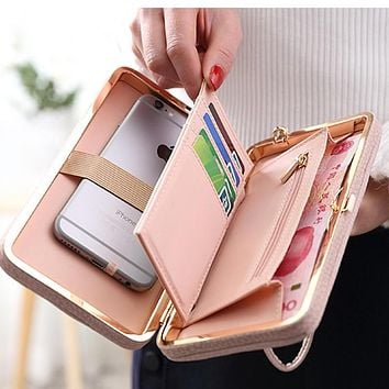 2017 Cartoon Bow-tie Sailor Moon Ladies Long Phone Box Female Bag Women Brand Leather Kawaii Wallet Purse Portefeuille Femme 505