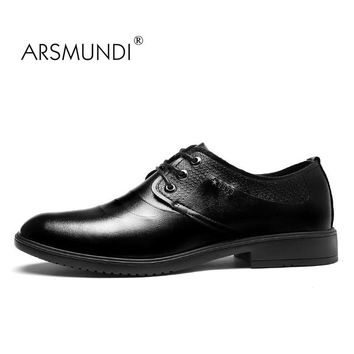 ARSMUNDI Original Men Dress Shoes Fall 2017 Man's Shoes Genuine Leather Breathable Waterproof Solid Gift Mens Dress Shoes MX-696