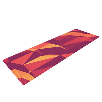 "Strawberringo ""Abstract Mountains"" Orange Abstract Yoga Mat"