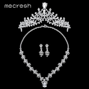Mecresh Gorgeous CZ Wedding Jewelry Sets Floral-Shape Crystal Bridal Crowns Necklace Earrings Sets 2017 Jewelry MHG120+MTL491