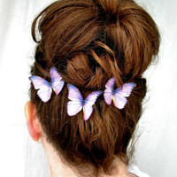 orchid sunrise . pantone radiant orchid handmade orchid purple silk butterfly hair clips . pure dupioni silk . amethyst