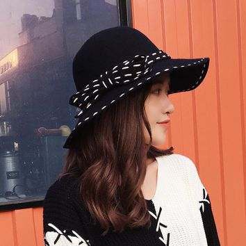 2016 NEW 100%  Wool Fedora Hat bowknot Noble Bowler Hats For Women Wide Brim Formal Church Cloche Hat free shipping