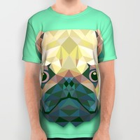 Geometric Pug All Over Print Shirt by Kingdom Of Art