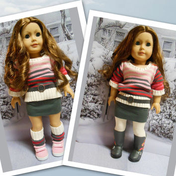 "American girl doll clothes ""Warm Me Up""  18 inch doll outfit  winter sweater skirt leggings leg warmers tights belt OOAK"