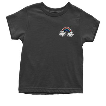 Embroidered Rainbow With Clouds Patch (Pocket Print) Youth T-shirt