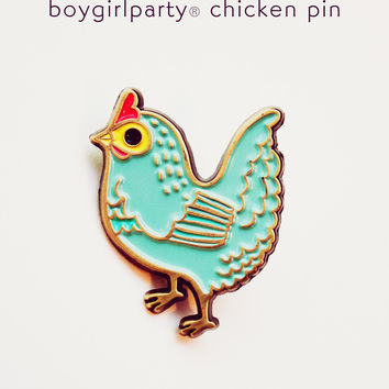 Chicken Pin - Blue Chicken Enamel Pin by boygirlparty