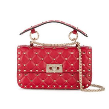 ONETOW Valentino Small Red Leather Rockstud Spike Bag - Farfetch