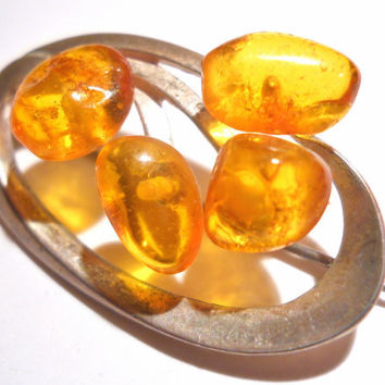 Sterling Silver Amber Brooch/Pin Vintage Baltic