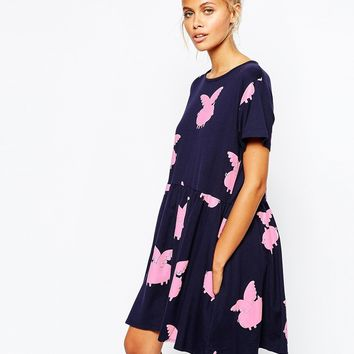 Lazy Oaf Swing T-Shirt Dress With Flying Pigs Print