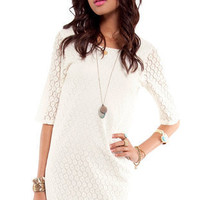 Lace Stitch Dress in Off White :: tobi