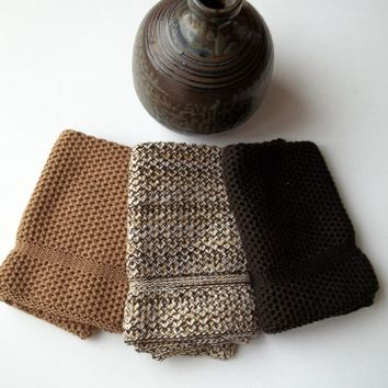 Dishcloths Knit in Cotton by The Needle House in Fr Brown Brownie and Cookies and Cream