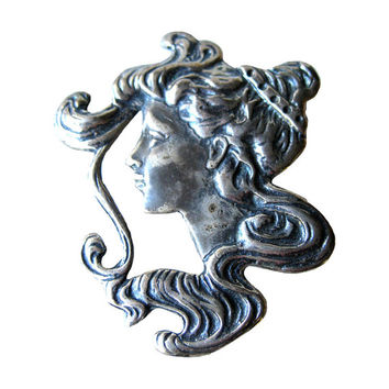 Art Nouveau Sterling Lady Head Pin Vintage Jewelry / Vintage Fashion Jewelry / Sterling Silver Brooch