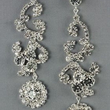 Bling Romantic Rhinestone Bridal Earrings- Designer Inspired On Silver Tone