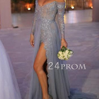 Custom Made Grey Tulle Lace Long Prom Dress, Evening Dress