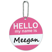 Meegan Hello My Name Is Round ID Card Luggage Tag