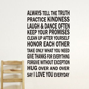 Subway Art - Words to Live By Vinyl Lettering - Vinyl Decal - Vinyl Lettering Wall Art