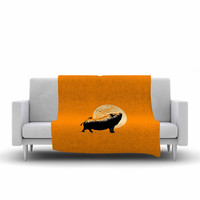 "BarmalisiRTB ""Barking Pig"" Black Orange Fleece Throw Blanket"
