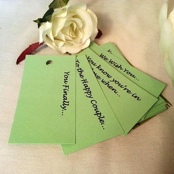 MINT GREEN Wedding Tree Tags- 20pk Assortment: Well Wishes, Comical Advice, Guest Entertainment, Reception Activity Game