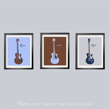 Guitar Prints in baby blue brown navy and silver set 5x7 Looks great with Carter's Monkey Rockstar Bedding .etsy.com
