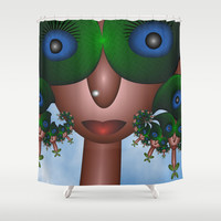 Faces And Sun Glasses, Funny Fractal Art Shower Curtain by Gabiw Art