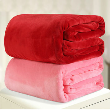 220*240cm 12different colors flannel comforter duvet quilt sofa/air/bedding Throw solid color double faced travel blanket