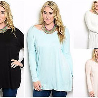 Plus Size Every Day Long Sleeve Longer, Roomy Tunic Top in 4 Colors