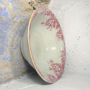 French antique earthenware bowl, earthenware, transferware, ironstone, french bowl, french dish, red transferware floral bowl cottage chic