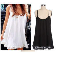 2015 Newest Summer Women Stretchy Camisole Spaghetti Strap Dress Tank Top Dress Solid Colors Lace Mini Beach Dress