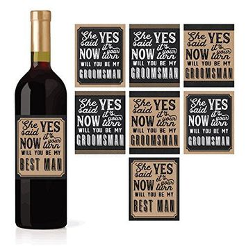 6 Will You Be My Groomsman + 1 BONUS Best Man Proposal Wine Beer Whiskey Liquor Bottle Labels or Stickers Set Wedding Engagement Supplies For Groomsmen Party Favors Best Way To Ask Your Grooms Men