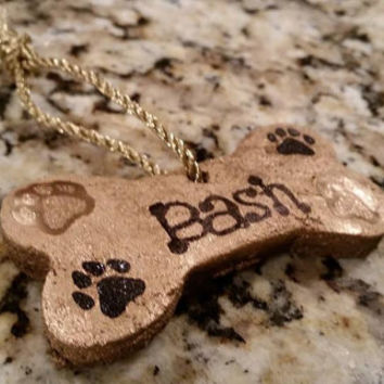 Personalized Homemade Dog Bone Ornaments - Bronze, Gold, & Silver