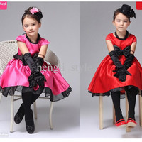 New Summer Girls' Children Bowknot TUTU Dress Lace Botton Girls' Dress Kids' TUTU Dress Red Rose Set