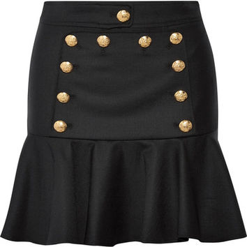 Veronica Beard - Morrison ruffled embellished twill mini skirt