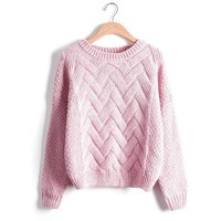 Plaid Thick Knitting Mohair Sweater